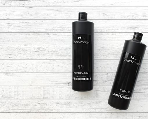 Black Magic Keratin og Neutralizer på hvidt træbord